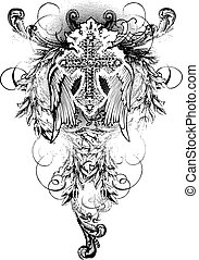 kors, vinge, scroll, udsmykket
