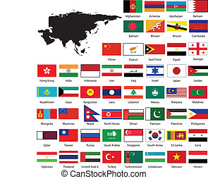 kort, flag, asien