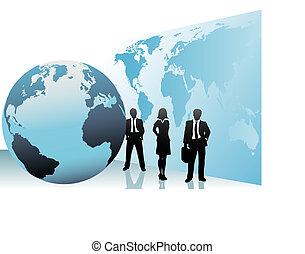 kort, folk branche, klode globale, internationale, verden