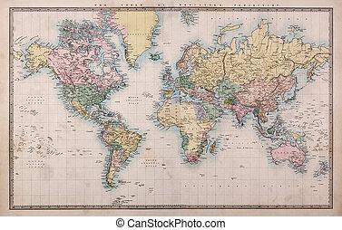 kort, gamle, projektion, verden, mercators