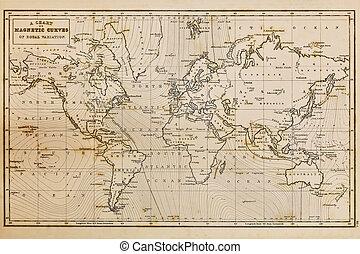 kort, gamle, vinhøst, hånd, verden, stram