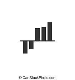 kort, graph, vektor, design., lejlighed, illustration, bar, icon.