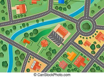 kort, landsby, forstad