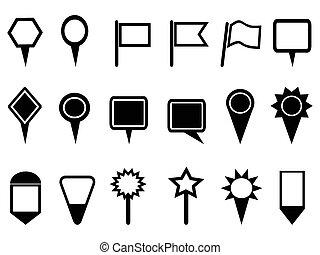 kort, pegepind, iconerne, navigation