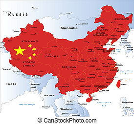 kort, politiske, kina