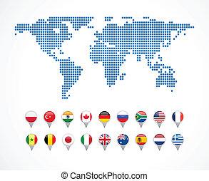 kort, sæt, navigation, verden, iconerne