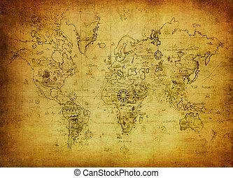 kort, verden, ancient