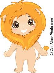 kostume, dreng, dyr, barnet, safari, illustration, løve
