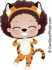 kostume, dyr, barnet, safari, pige, illustration, tiger