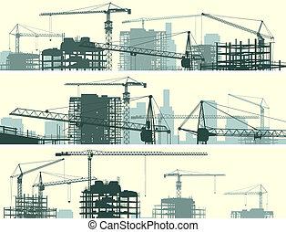 kraner, site, bygning.