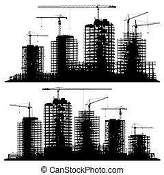 kraner, site, konstruktion, silhuetter, sæt, bygninger.