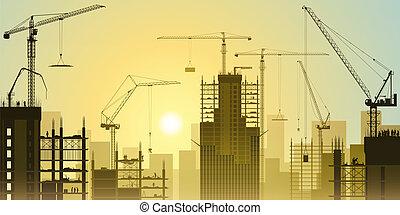kraner, tårn, konstruktion site