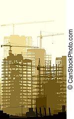 kraner, vertikal, illustration, site, konstruktion, bygninger.