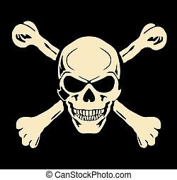 kranium, onde, tegn, advarsel, vector., bones.
