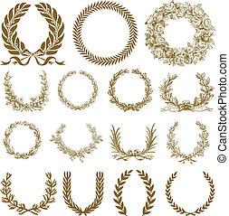 krans, laurbær, sæt, bronce, vektor