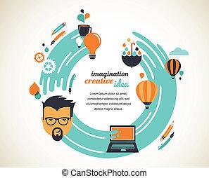 kreative, begreb, konstruktion, ide, nyhed