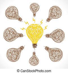 kreative, glød, pære, ide, begreb
