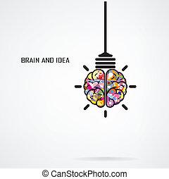 kreative, hjerne, pære, lys, ide, begreb