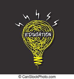kreative, pære, skitse, undervisning