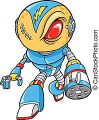 kriger, vektor, illustration, robotic