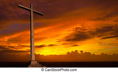 kristen, baggrund., sky., kors, religion, solnedgang