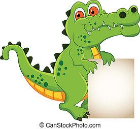 krokodille, banner, cartoon