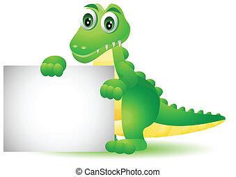 krokodille, blank, cartoon, tegn