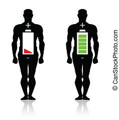 krop, høj, menneske, lavtliggende, batteri