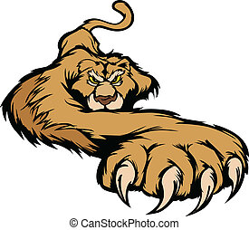 krop, prowling, vektor, mascot, cougar
