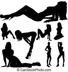 krop, sexet, pige, vektor, silhuetter