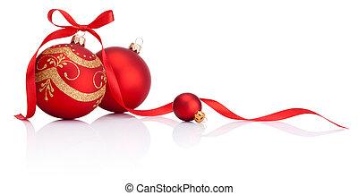kugler, isoleret, bøje sig, dekoration, bånd, baggrund, hvid christmas, rød