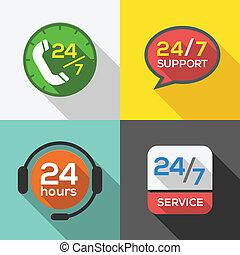 kunde, 24, sæt, tjeneste, lejlighed, understøttelse, timer, ikon