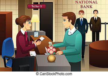 kunde, kasserer, bank, servicerer