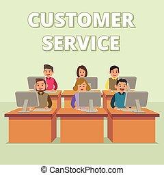kunde tjeneste, teknisk understøttelse, illustration, hold