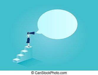 kundgørelse, branche kvinde, vektor, foranstaltninger, indgåelse, megafon