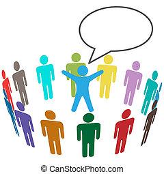 kundgørelse, farverig, folk, audience, afhøre, leder