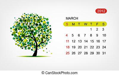 kunst, march., træ, vektor, konstruktion, 2012, kalender