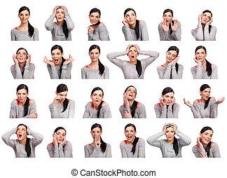 kvinde, adskillige, unge, isoleret, viser, udtryk