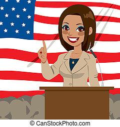 kvinde, amerikaner, politiker, afrikansk, flag