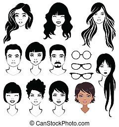 kvinde, ansigter, mand