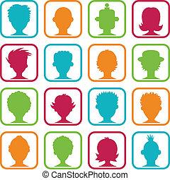 kvinde, avatars, farverig, mand