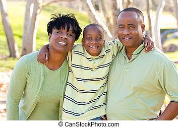 kvinde, barn, amerikaner, afrikansk mand, glade