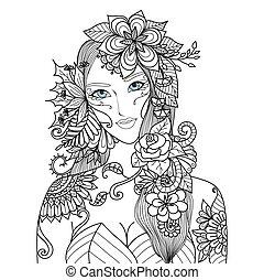 kvinde, blomster