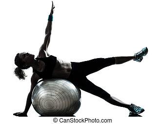 kvinde, bold, workout, duelighed, exercising
