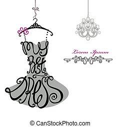 kvinde, chandelier., skabelon, dress., bedst, silhouette., gloser, klæde
