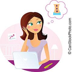 kvinde, drømme omkring, kontor, massage