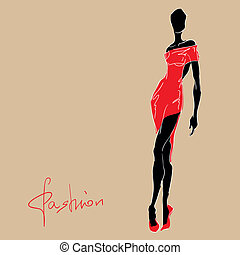 kvinde, dress., mode, rød