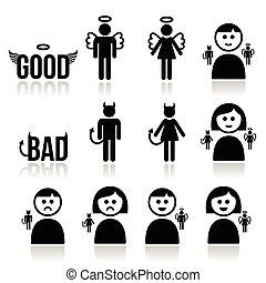 kvinde, engel, djævel, mand, ikon, sæt