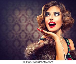 kvinde, fotografi, stiliser, lady., portrait., retro, vinhøst, overrask
