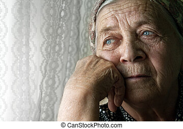 kvinde, gamle, pensive, sørgelige, enlige, senior